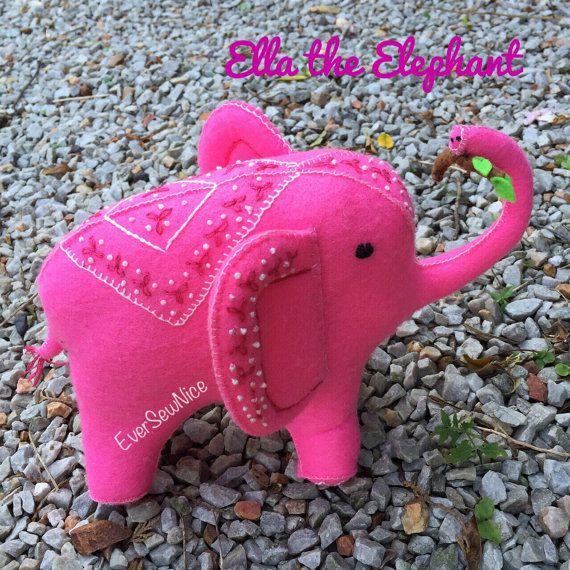 Handmade Felt elephant - Felt Plushie - Felt Toy - Felt elephant - Toy elephant - Gift - Ornament - Toy Gift - Freestanding elephant