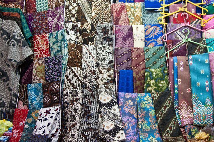 At the Pasar Beringharjo in Yogyakarta, Java - home to large amounts of commercially manufactured batik fabric.