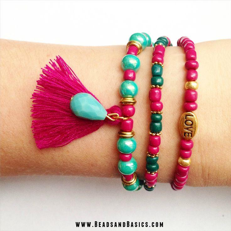 DIY Tutorial / kwastje / Beads / Zelf sieraden maken / Armbandjes / Ketting / Kralen / roze en turkoois armbandjes / Tibetaanse kralen goud / kralen webshop   www.BeadsandBasics.com