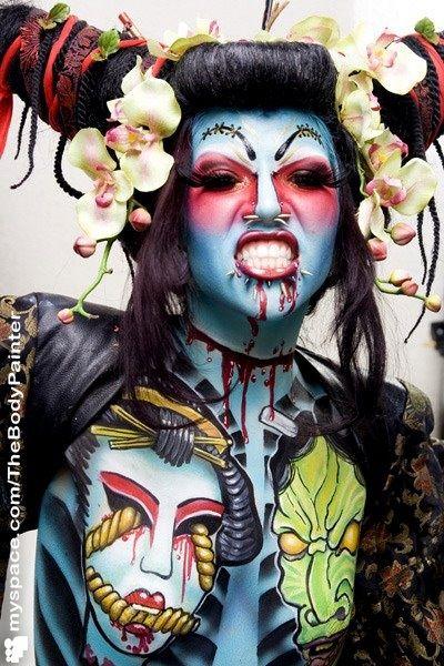 #Bodypaint #Zombie #Asian #Flowers
