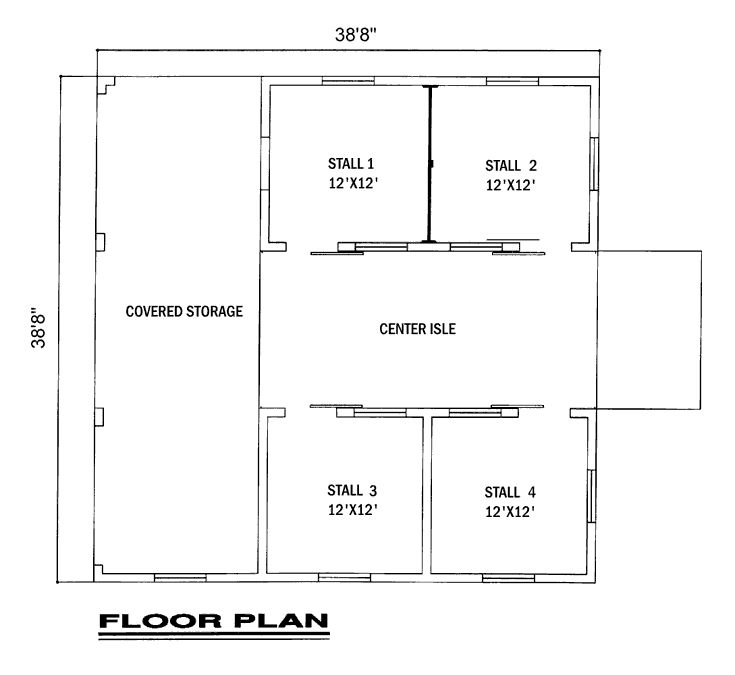 4 stall horse barn with center isle and covered storage for Equestrian barn plans