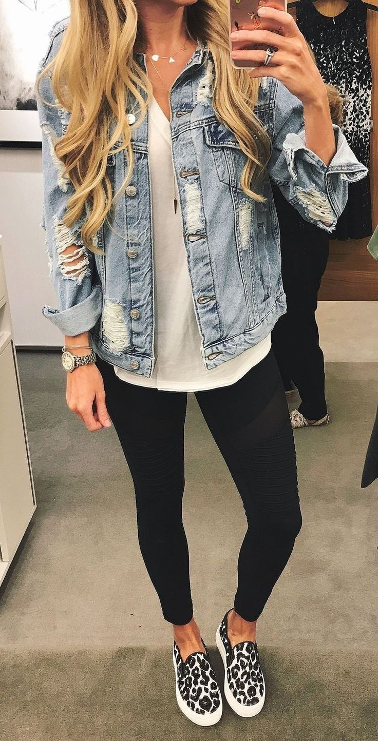 #fall #outfits women's black-and-white slip-on shoes, black leggings, distressed blue denim jacket