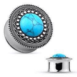 Tunnel centre turquoise - 14mm. Piercing-abondance vous propose des milliers de bijoux corporels en acier pour hommes et femmes.