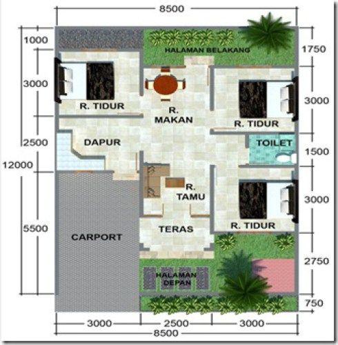 denah rumah minimalis 1 lantai tanpa garasi