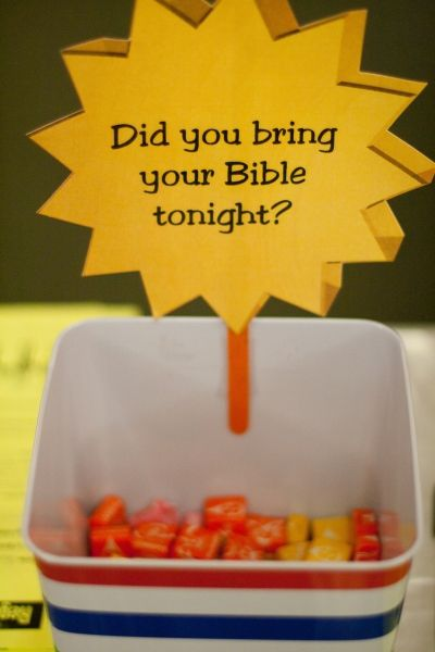 Good idea for bringing your bible to class. Make the kids feel a sense of responsibility to bring their bible to class instead of their parent. I would remember mine for an extra piece of candy!