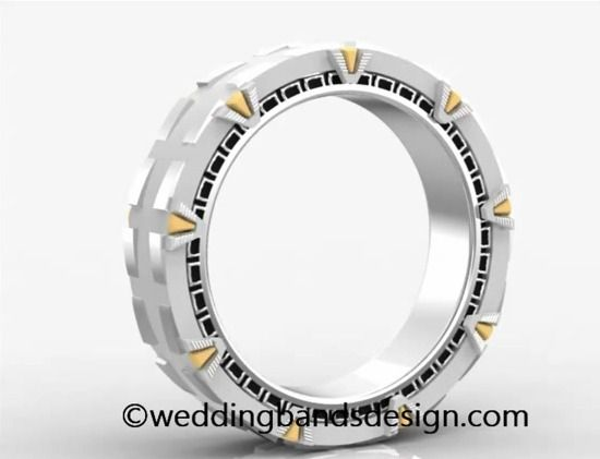 Stargate wedding band... I WANT this... not even as a wedding band, just to wear!!!  Seriously!!!