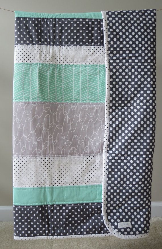 Baby quilt, Toddler quilt - Modern. Mint, White, Gray, Polka dot. ETSY