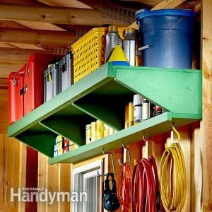 Double Decker Garage Storage Shelves: If you're out of garage floor space, try looking up for garage storage shelves. Read more: http://www.familyhandyman.com/garage/storage/double-decker-garage-storage-shelves/view-all