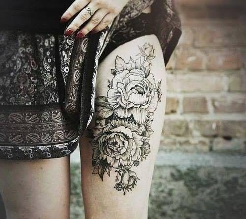 Thigh high rose tattoo sexy flowers art tattoo legs ink rose