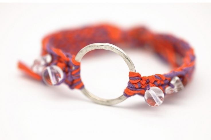 Crocheted cotton thread bracelet with sterling silver ring and crystalline beads    length: between 16cm and 18cm
