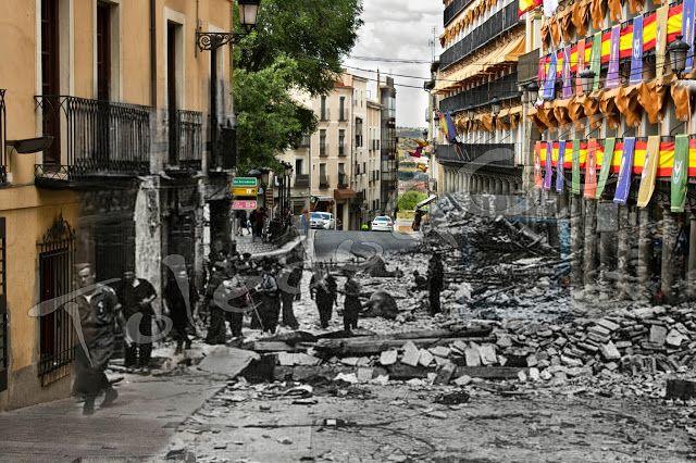 Cuesta del Alcázar con las tropas de Varela ya en la ciudad.