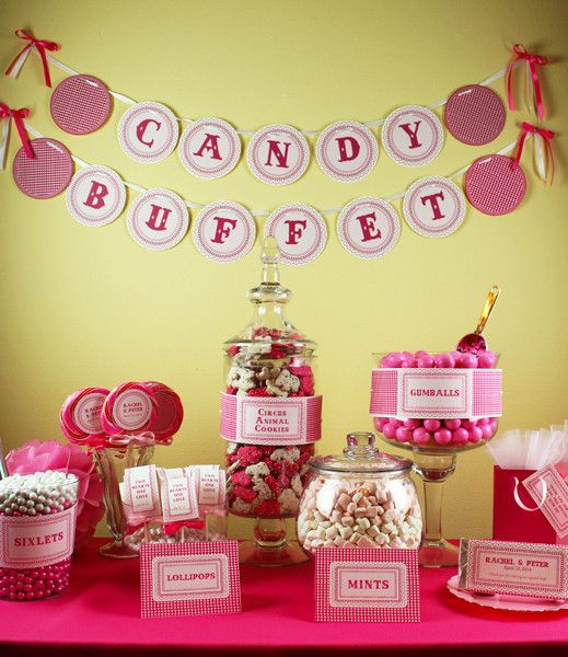 Pretty in Pink candy buffet printables from #DownloadandPrint http://www.downloadandprint.com/templates/pretty-in-pink-candy-buffet-bundle/