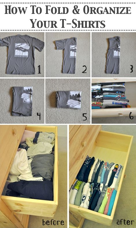 31 Clothing Tips Everyone Should Know--Folding and organizing t-shirts