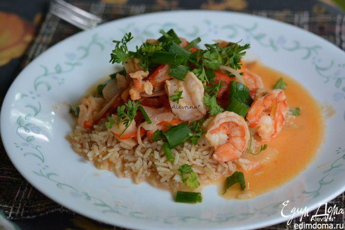 Рагу из морепродуктов по-бразильски. Вкусный и быстрый ужин из риса, морепродуктов и рыбы. #edimdoma #recipe #cookery