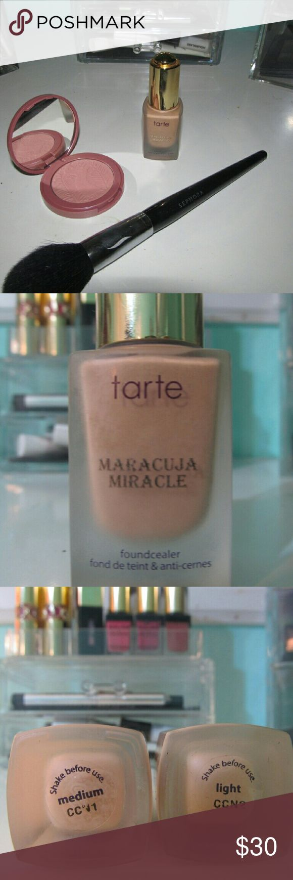 Tarte Maracuja Miracle Foundcealer light & medium Can't get these anymore. It was a special edition on QVC. I bought 2 to mix colors because they were out of my color now they're both too dark for me! I'm getting rid of tons of foundation. I have too many!  CONDITION: Both used Medium was maybe used once, maybe twice. Light was used maybe 4 times. Their both practically full.  DESCRIPTION: Foundation and concealer in one. Serum foundation, has a dropper for applicator. Size: .51 fl. oz…