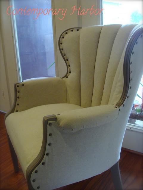 Contemporary Nailhead Wingback Chair