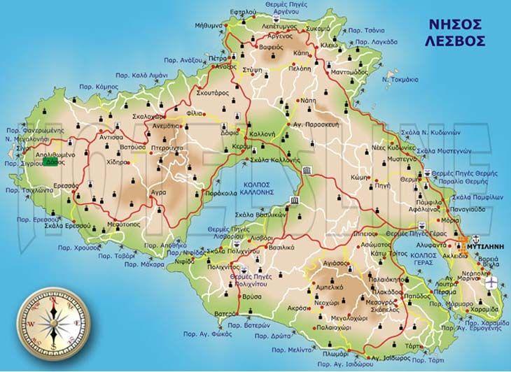 ΛΕΣΒΟΣ, ΜΥΤΙΛΗΝΗ, Λέσβος, Χάρτης, Αιγαίο, Χάρτης της Λέσβου, νήσος Λέσβος