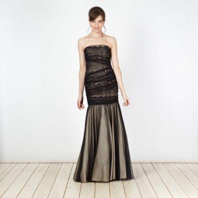 Pearce II Fionda Designer black lace mesh bandeau ball gown- at Debenhams.com
