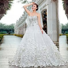 A-line / Princess Wedding Dress Cathedral Train Strapless Satin / Tulle with Beading 2017 - £286.99