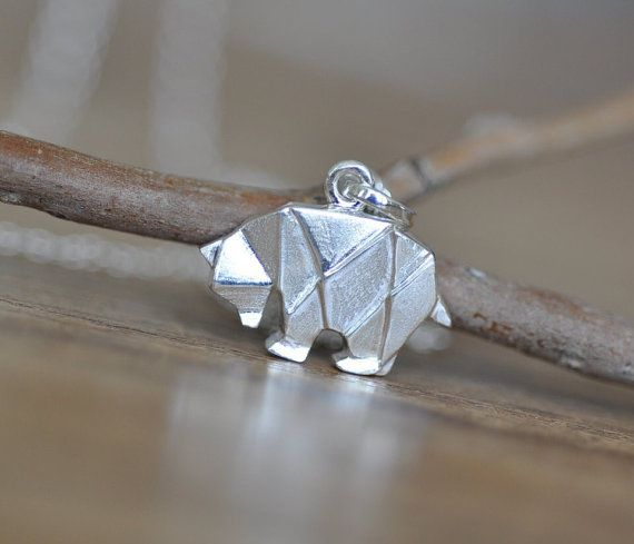 Papiroflexia Oso de collar en plata esterlina 925, oso de plata, joyas de plata Oso Polar, joyería animales de Origami, Origami, Jamber joyas 925