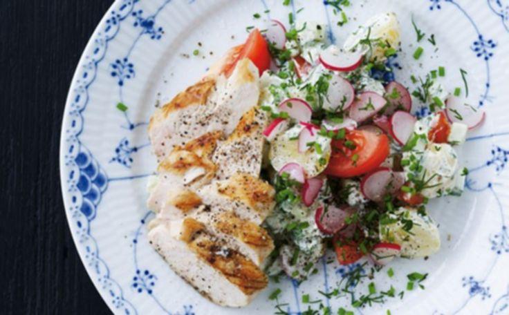 Kartoffelsalat med kylling og urtedressing