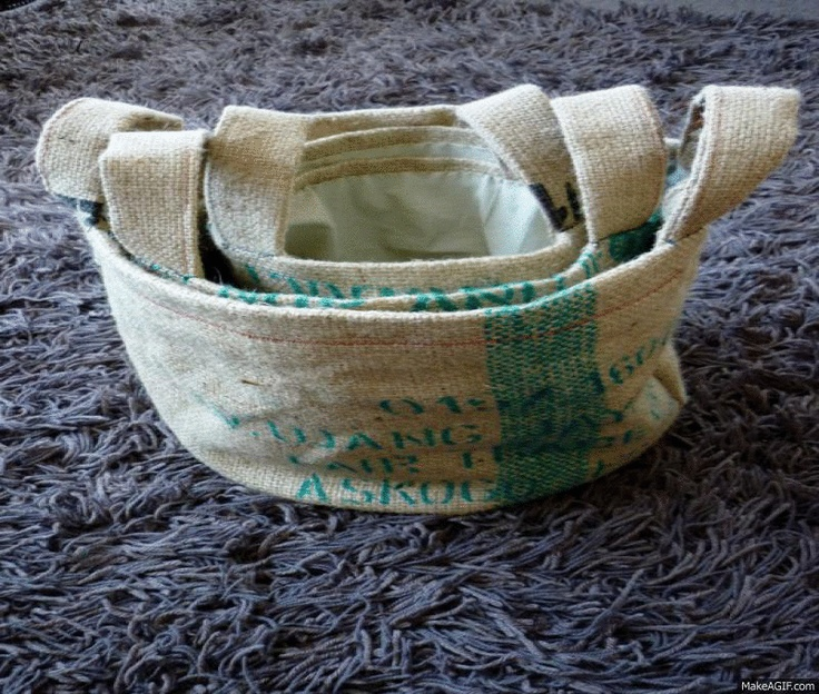 Burlap coffee bean sacks carry bags