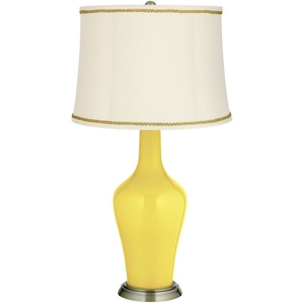 Color Plus Lemon Twist Anya Table Lamp with Scroll Braid Trim ($140) ❤  liked on Polyvore featuring home, lighting, table lamps, yellow, yellow  lamp base, ... - Best 25+ Yellow Lamps Ideas On Pinterest Yellow Lamp Shades