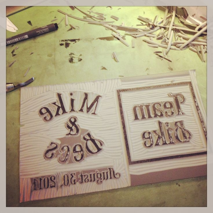 Custom Lino carving for a personalized beer box.