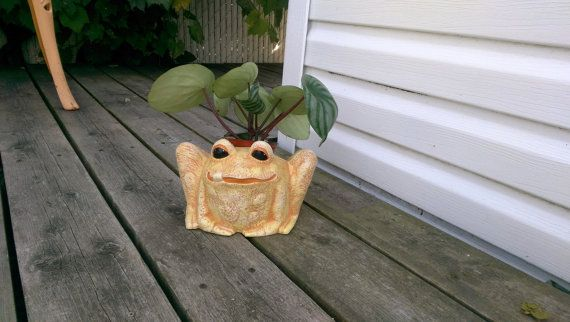 A fun and friendly ceramic hand painted garden frog pot with his tongue sticking out! So cute! Vibrant and bright - the piece can also be custom coloured if you prefer a different type of frog. Please include colour specifications with your order. This cute frog is shades of green with a slight bronze top coat. The eyes are brushed with a high gloss finish to give big, bright, wet looking eyes. Weatherproof finish makes this piece great for outdoor decor such as in your lawn and garden…