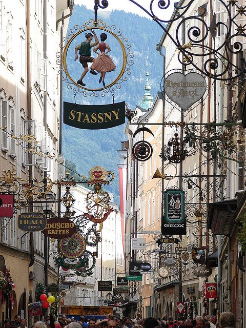 Getreidegasse, probably Salzburg's most famous shopping lane, with its typical the wrought iron guild signs. Thaks to Linda Holderfield