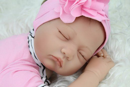 Amazon.com: Reborn Baby Doll Sleeping Soft Vinyl 22 Inches Newborn Dolls Lifelike Magnet Pacifier Adorable Toys: Toys & Games