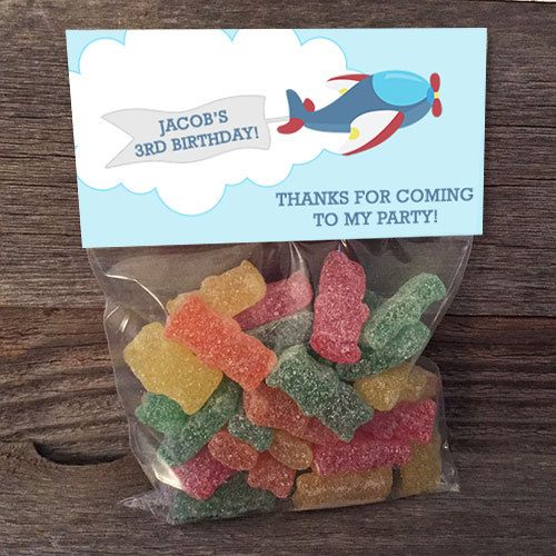 ***********THANKS FOR STOPPING BY!****************  A very easy and convenient way to give out #Birthday Favors. This is for a set of 4x6 bags and #stickers, personalized w... #small #bag #school #class #favors #party #birthday #toppers #airplane #plane #flying