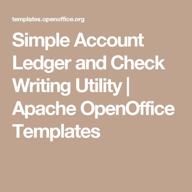 Simple Account Ledger and Check Writing Utility | Apache OpenOffice Templates
