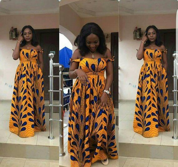 Yellow African Print Dress/African Plus Size Dress/African Plus Size ...