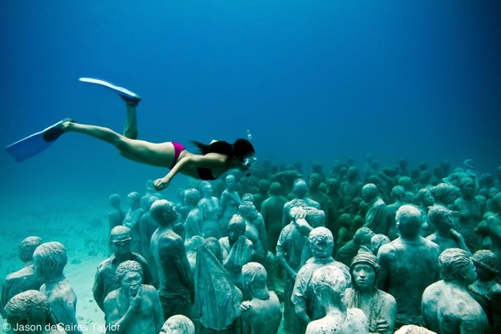 The Underwater Museum in Cancun, Mexico.  Exhibition: The Silent Evolution: Cancun Mexico, Sculpture Garden, Buckets Lists, Scubas Diving, Underwater Museums, Isla Mujer, Weeping Angel, Cancunmexico, Underwater Art