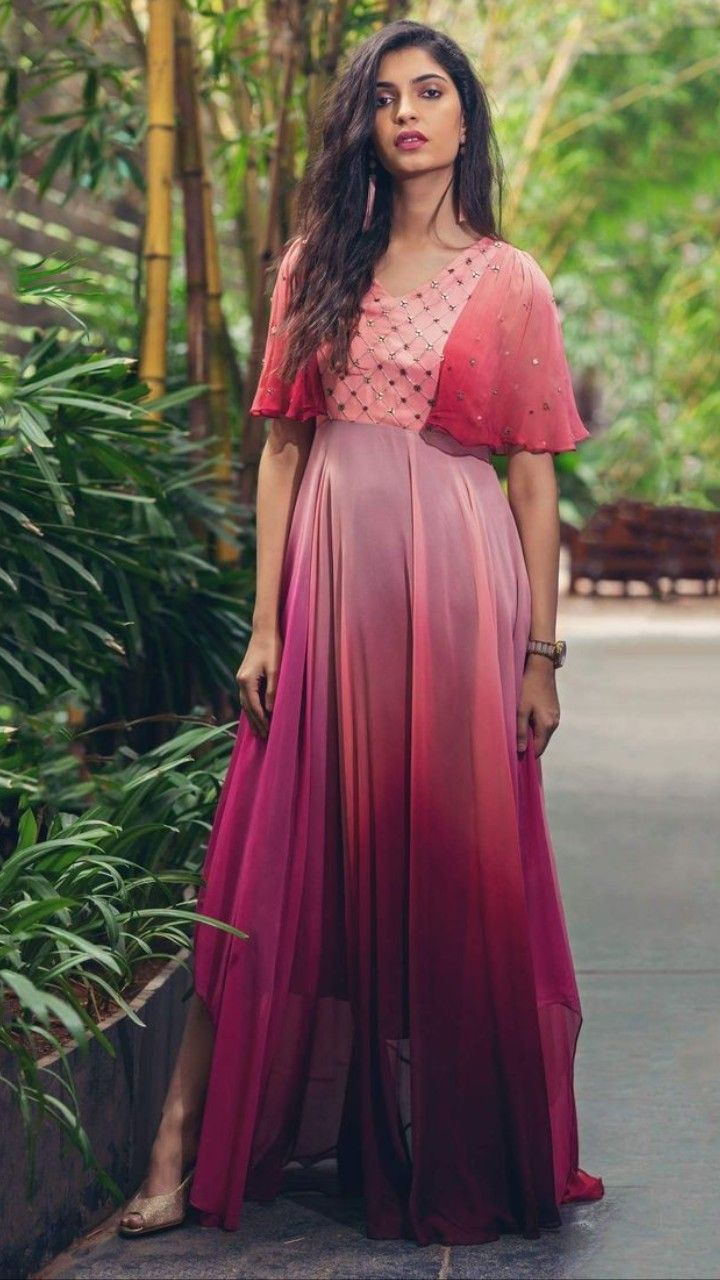 9da13529a5 Beautiful Shaded Georgette-Silk Dress with Hand Embroidery embellishments.  | Indo-Western Gown & Dresses | Dresses, Trendy dresses, Gown party wear