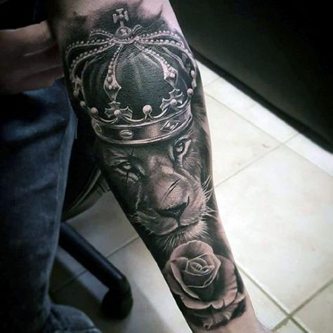 Rose Flower With Lion Wearing Crown Guys Forearm Sleeve Tattoo