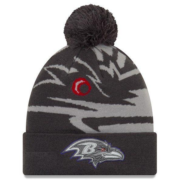 Baltimore Ravens New Era Logo Whiz 3 Cuffed Knit Hat with Pom -  Gray Graphite  BaltimoreRavens 8b2c10280