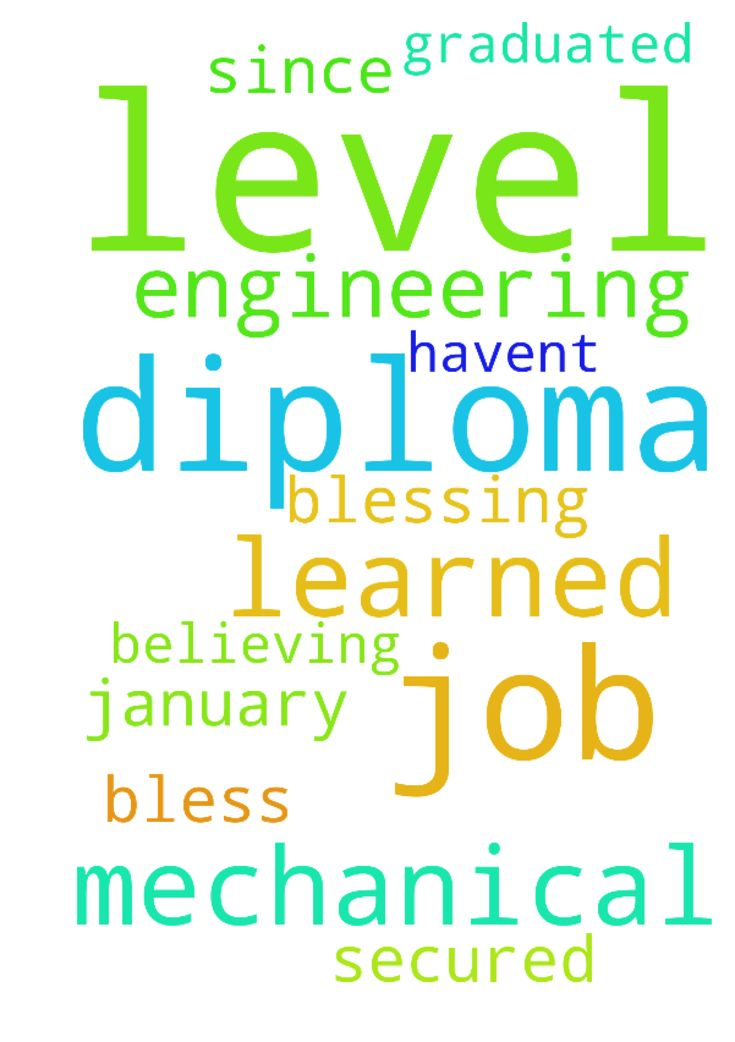 I have learned up to diploma level in Mechanical engineering. - I have learned up to diploma level in Mechanical engineering. I graduated in 2015 and since then I havent secured any job. Please am believing that God is blessing me with a job in January 2017. Pray with me for this please. God bless you. Thank you. Posted at: https://prayerrequest.com/t/rJ5 #pray #prayer #request #prayerrequest