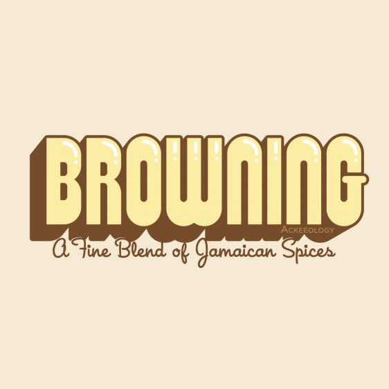 """BROWNING is Jamaican Patois for a """"light skinned"""" person, of """"mixed"""" African or East Indian descent. But here at Ackeeology Browning is simply 'A Fine Blend of Jamaican Spices.' A classic-fitting basic t-shirt with feminine styling. Design is printed soft to the touch. Available in Brown, Cream, Pink and White.  #Jamaican #patois"""