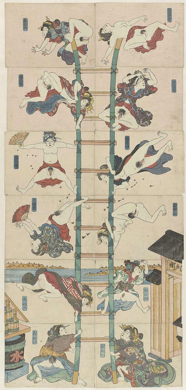 anoniem | Serie van twaalf koban Shunga met prostituées in de rol van acrobatische brandweerlieden, school of Utagawa Kuniyoshi, c. 1830 - c. 1835 | Serie van twaalf koban prenten met twaalf halfnaakte vrouwen die acrobatische toeren uithalen op een ladder. Per zes boven elkaar geplaatst vormen de twaalf genummerde bladen een parodie op soortgelijke voorstellingen van brandweerlieden die halsbrekende stunts uithalen. De opschriften op de emmers op de één na onderste prent links verwijzen…