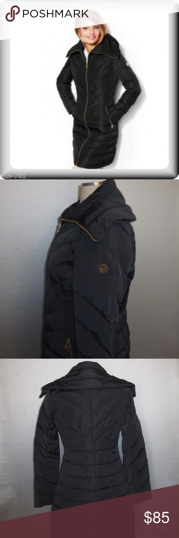 "Michael Kors Quilted Puffer Coat New Michael Kors Chevron Quilted 3/4 down coat with oversized wing collar (zips to a foldover funnel). Stunning dark gray color with gold hardware.  36"" long, with 19.25"" chest (xs) Michael Kors Jackets & Coats Puffers"