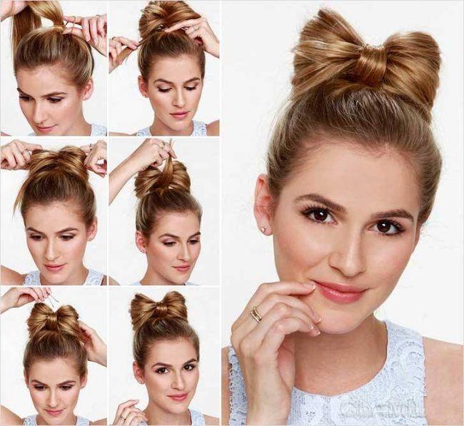 50 Идей как сделать прическу «бант из волос» пошаговая инструкция
