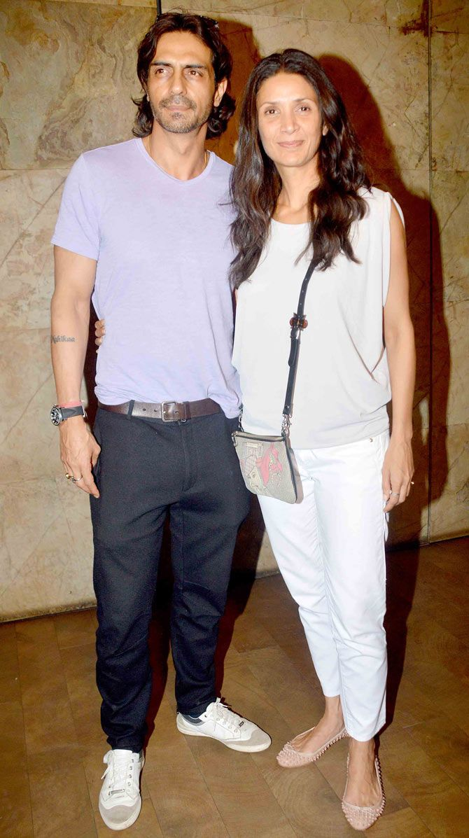 Arjun Rampal and wife Mehr Rampal at the screening of 'Roy'. #Bollywood #Fashion #Style #Beauty #Handsome