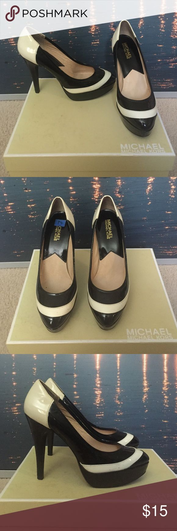 Michael Michael Kors Mclane Pump - Black & Cream Black and Cream Pumps, size 7 1/2, patent leather, some small scuff marks MICHAEL Michael Kors Shoes Heels