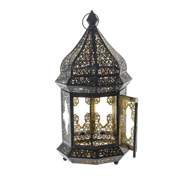 Vitage Style Metal Ornate Cut Out Moroccan Gothic Black Gold Candle Holder Lantern Home Deco 42cm Height
