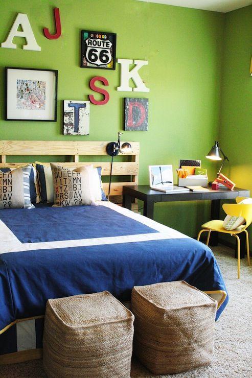 Leaf green walls and blue bedding
