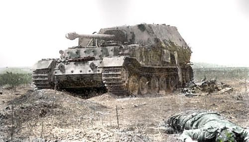 This is a Ferdinand. Distinguishing features: Vision slits and headlights on hull front corners, flat commander's hatch, no machine gun, no ...