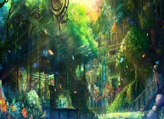Fantasy world background anime background anime scenery - Anime backdrop wallpaper ...