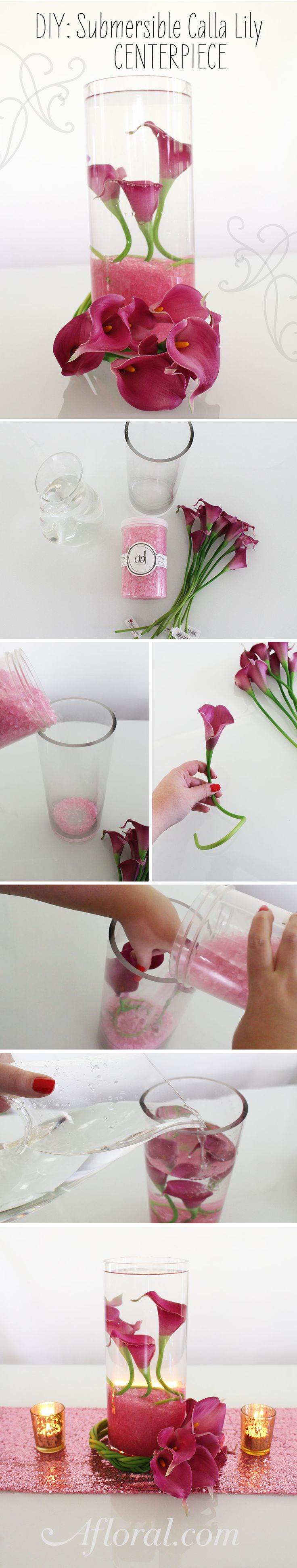DIY Wedding Centerpiece Ideas from Afloral.com.  Make your own submersible calla lily centerpiece with silk flowers and supplies from Afloral.com.